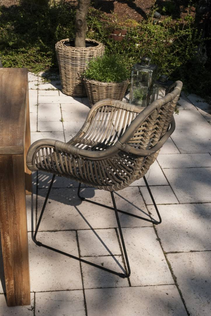 stół drewniany ogrodowy i krzesła rattanowe LAVAL
