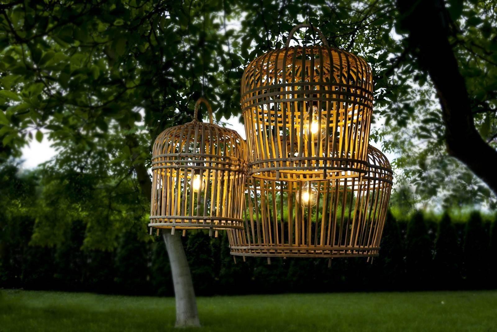 krzesło rattanowe w komplecie z lampą bambusową TOULOUSE