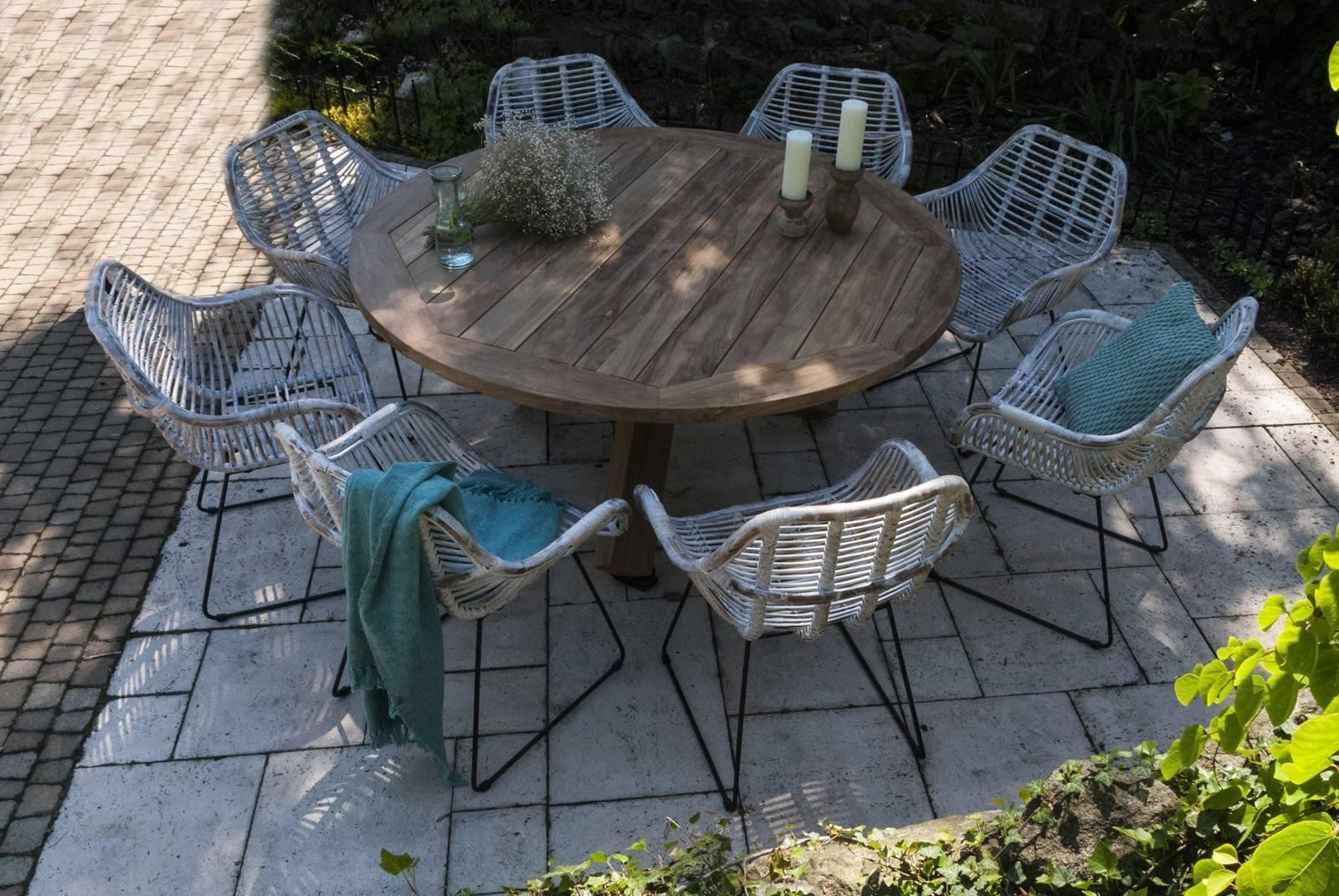 Okrągły stół do ogrodu drewniany BORDEAUX
